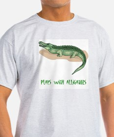 Plays With Alligators Ash Grey T-Shirt