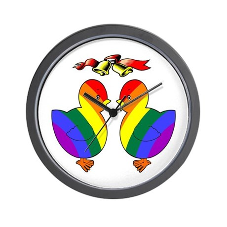 Gay Chicks Getting Married Wall Clock