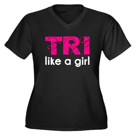 Tri like a girl Women's Plus Size V-Neck Dark T-Sh
