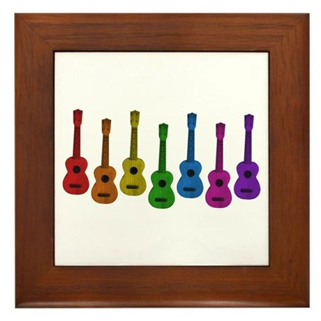 Ukulele Rainbow Framed Tile