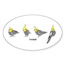 Gray Cockatiels Oval Decal