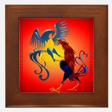 Two Colorful Fighting Rooster Framed Tile