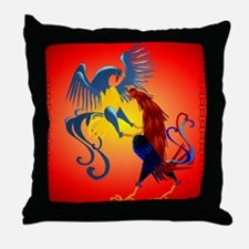 Two Colorful Fighting Rooster Throw Pillow