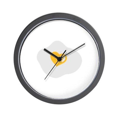 Fried egg love heart Wall Clock