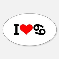 I love 69 Sticker (Oval)