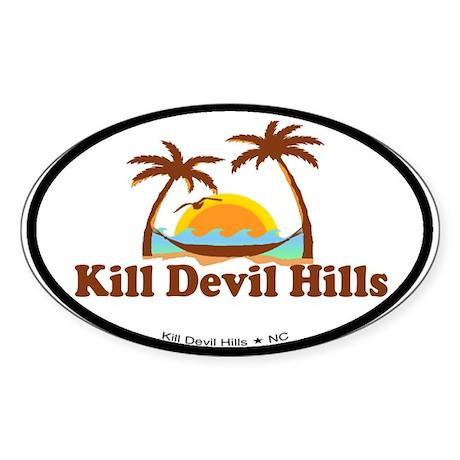 Kill Devil Hills NC - Palm Trees Design Sticker (O
