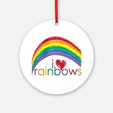 I Love Rainbows Ornament (Round)