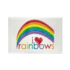 I Love Rainbows Rectangle Magnet