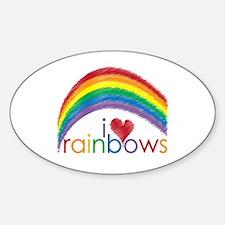 I Love Rainbows Sticker (Oval)