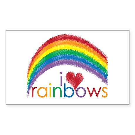 I Love Rainbows Sticker (Rectangle)