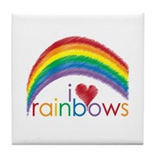 I Love Rainbows Tile Coaster