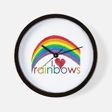 I Love Rainbows Wall Clock
