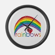 I Love Rainbows Large Wall Clock