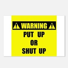 WARNING: Put Up Or Shut Up Postcards (Package of 8