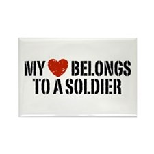 My Heart Belongs To A Soldier Rectangle Magnet