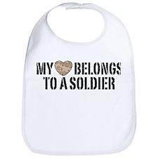 My Heart Belongs To A Soldier Bib