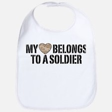 My Heart Belongs To A Soldier Bib