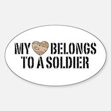 My Heart Belongs To A Soldier Sticker (Oval)