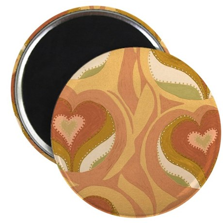 Vining Hearts Light Brown Magnet
