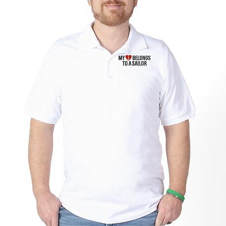 My Heart Belongs To A Sailor Golf Shirt