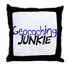 Geocaching Junkie - Blue Throw Pillow