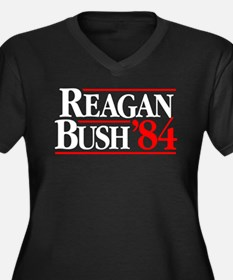 Reagan Bush '84 Campaign Women's Plus Size V-Neck