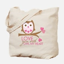 Love you with owl my heart Tote Bag