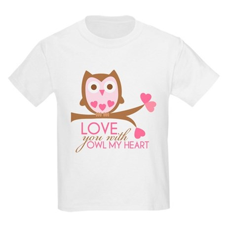 Love you with owl my heart Kids Light T-Shirt