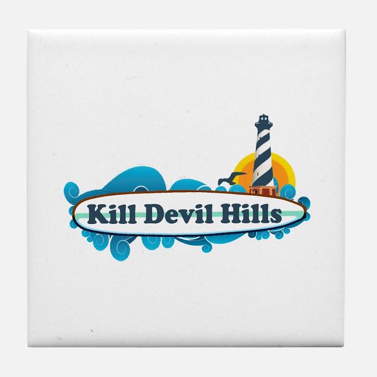 Kill Devil Hills NC - Surf Design Tile Coaster