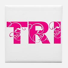 Cute Women triathlete Tile Coaster