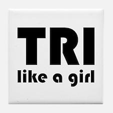 Unique Women triathlete Tile Coaster