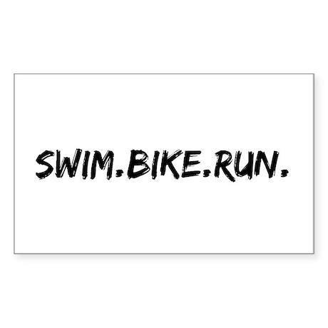 Swim. Bike. Run. Sticker (Rectangle)