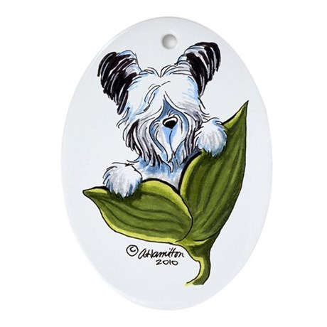 Platinum Skye Terrier Ornament (Oval)