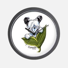 Platinum Skye Terrier Wall Clock