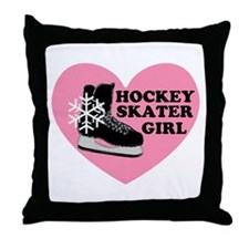 Hockey Skater Girl Ice Skate Throw Pillow