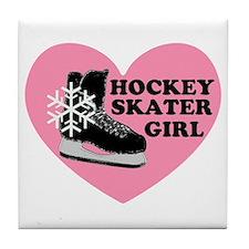 Hockey Skater Girl Ice Skate Tile Coaster