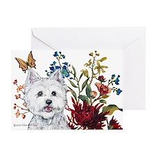 Westie Terrier in the Garden Greeting Card