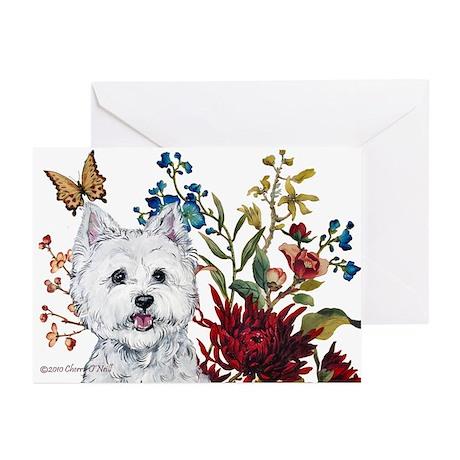 Westie Terrier in the Garden Greeting Cards (Pk of