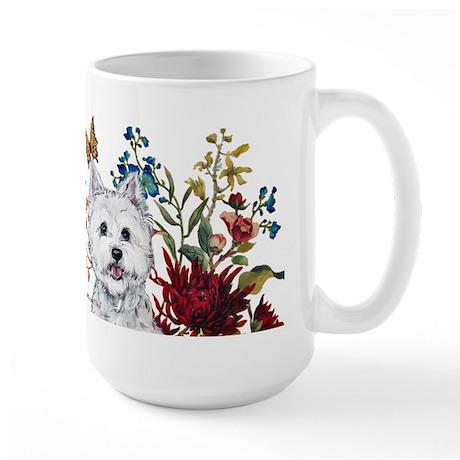 Westie Terrier in the Garden Large Mug