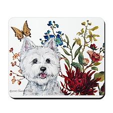 Westie Terrier in the Garden Mousepad