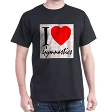 I Love Gymnastics Black T-Shirt