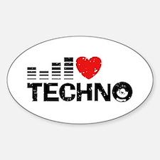 I Love Techno Sticker (Oval)