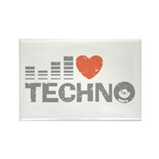 I Love Techno Rectangle Magnet