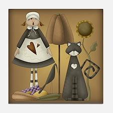 Pilgrim Girl Tile Coaster