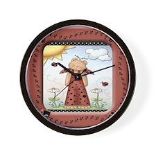 Teddy Bear Ladybug Wall Clock
