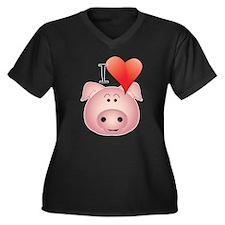 Cute Spoiled Women's Plus Size V-Neck Dark T-Shirt