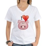 Funny pig Womens V-Neck T-shirts