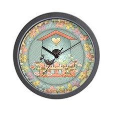 Country Blue Birdhouse Wall Clock