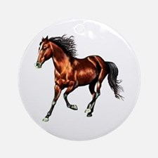 Cantering Bay Horse Ornament (Round)