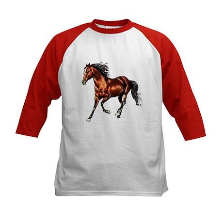 Cantering Bay Horse Kids Baseball Jersey